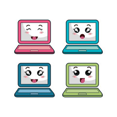 laptop computer character icon