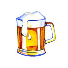 pint of beer hand drawn in watercolor