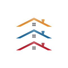 roof top home logo design concept vector template