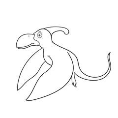 Dinosaur cartoon stripes on white background. Vector illustratio