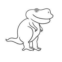 Dinosaur cartoon stripes on white background. Vector illustratio