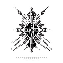 Vector illustration , ethnic Aztec style. Tribal wild image