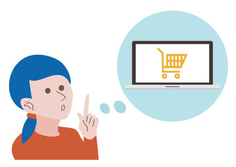 A woman think about online shopping