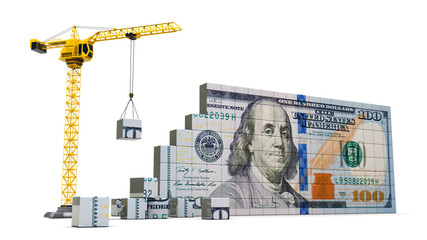 crane and money