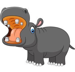 Cartoon hippo roaring