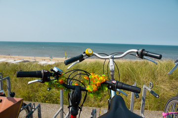 Parked bike at the Sea coast.