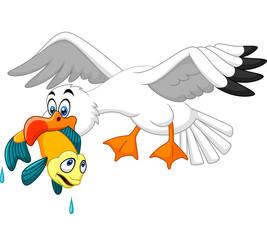 Cartoon seagull eating fish