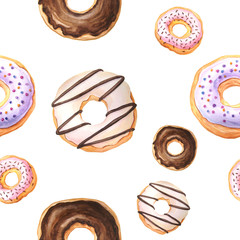 Seamless pattern with watercolor glazed donuts