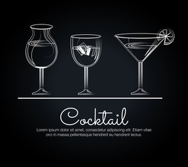 menu cocktails list bar vector illustration design