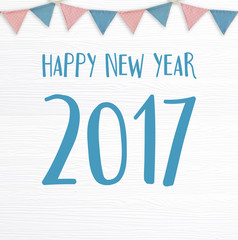 Happy new year 2017 and party flags hanging on white  background