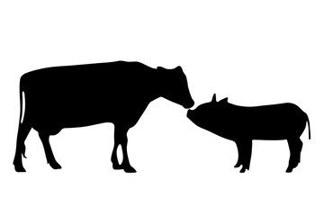 Vector silhouette of farm animal.
