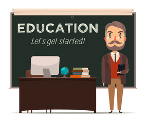 Teacher in front of chalkboard. Education background. Vector.