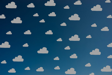 Hand drawn grey clouds pattern on dark blue sky