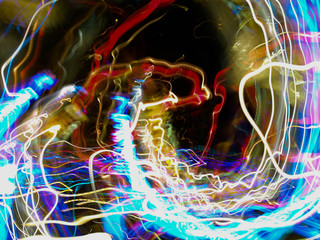 Light painting with many colorful bulbs. Abstract background