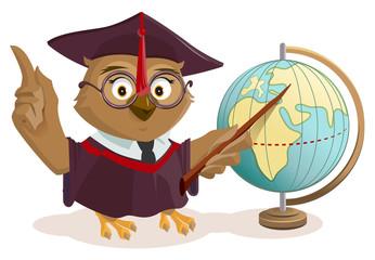 Owl teacher and globe
