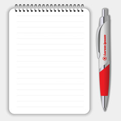 Blank realistic spiral notepad notebook and pen isolated on white vector. Display Mock up for corporate identity and promotion objects