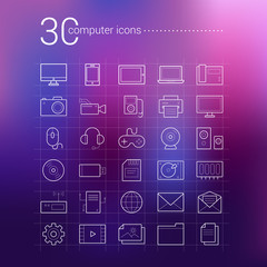 Set of 30 vector outline computer icons on a blur purple background