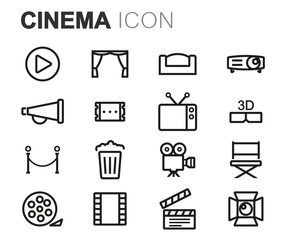 Vector black line cinema icons set