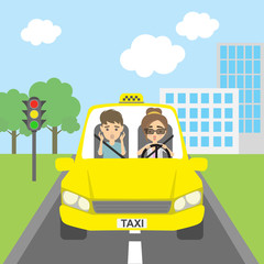Taxi driver with passenger. Riding on the city street. Yellow car for urban service. Scared male driver and female passenger.