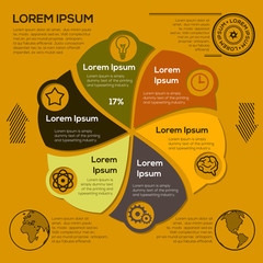 Modern business Infographics circle style Vector illustration. Can be used for workflow layout, banner, diagram, number options, step up options, web design.