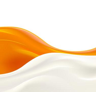 Milk wave with orange jam or syrup on white background. Fresh delicious yogurt splash vector illustration