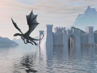 Obraz premium 3D Ilustracja Zamek Na Wodzie I Smoka