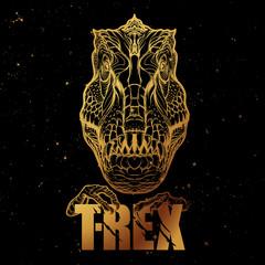 Tyrannosaurus roaring head with t-rex sign. Golden on black.