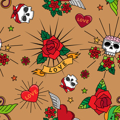 Vintage cute tattoo roses, hearts and skulls vector seamless pattern