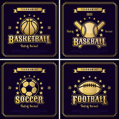 Set of sport badge, logo, emblem tournament in vintage retro style template.