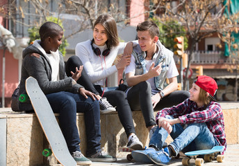 teens spending time together in sunny day