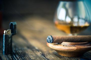 smoking cigar close up view