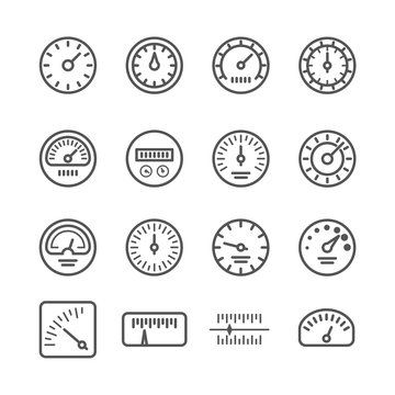 Meter manometers speed clock measure line vector icons