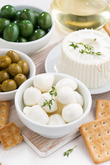 soft cheeses, crackers and pickles for wine, top view