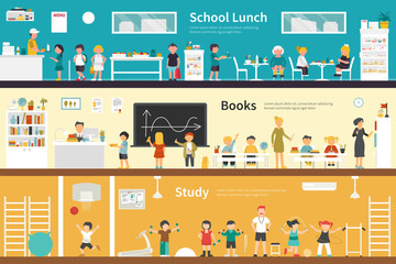 School Lunch Books Study flat interior outdoor concept web
