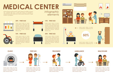 Medical Center concept Hospital infographic flat web vector illustration. Patient, nurse, clinical laboratory, doctor, treatment. Presentation timeline