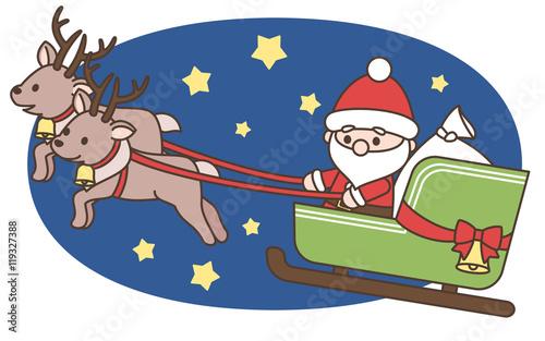 デフォルメサンタクロースとトナカイ ソリに乗る クリスマス素材 白背景