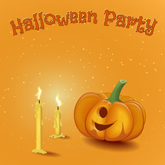 Poster cartoon-style fun Halloween party with candles and pumpki