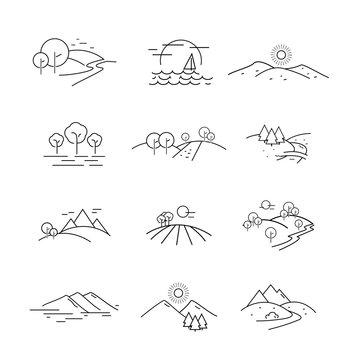 Landscape Icons Set - Isolated On White Background. Vector Illustration, Graphic Design. For Web, Websites, Print