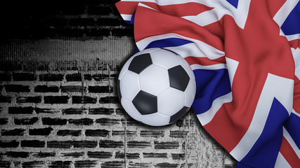 England flag with football on black brick wall  background ,copy space , 3D illustration