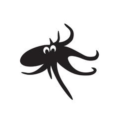 Vector octopus. Black on white