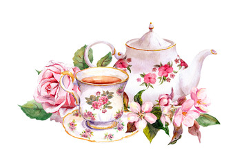 Teacup, tea pot with flowers. Vintage card. Watercolor