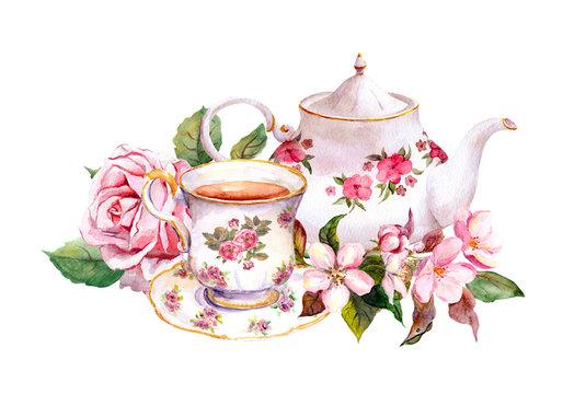 Teacup, tea pot with flowers. Vintage card. Watercolor