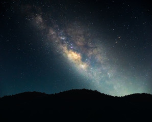Landscape Milky Way on the night sky.Mountain at night with bright light of the stars across the sky, and dark enough to see the Milky Way galaxy
