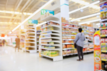 Supermarket interior blur background