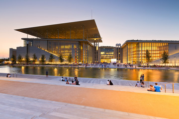 Wall Murals Theater View of Stavros Niarchos Foundation Cultural Center in city of Athens.