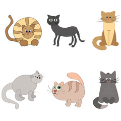 Set of cute cartoon kitties or cats with different colored fur.