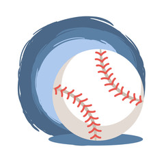 Vector illustration of baseball softball ball icon isolated on blue white background