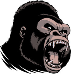 The fierce gorilla head