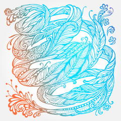 Abstact doodle floral highly detailed hand drawn for decorative design or pattern,  T-shirts featuring spiral motifs, tattoo design element. Book concept art. Isolated vector illustration