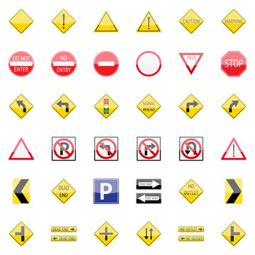 Vector traffic signs icon set for web and mobile applications